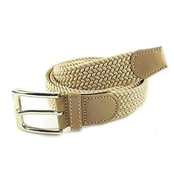 MYB Cintura elastica intrecciata per Uomo e Donna - diversi colori e dimensioni (105 - 110 cm, Beige)
