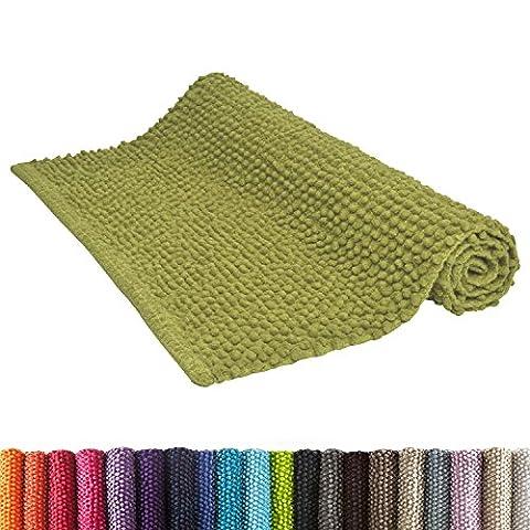 Beautissu Tapis de bain - douche - Wc - descente de bain - Coton - 50x80 cm - uni doux et moelleux antidérapant - Vert