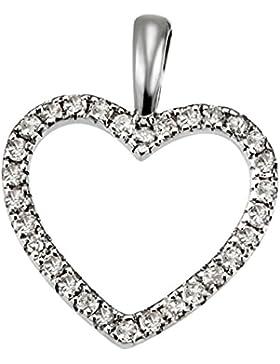 Goldmaid Damen-Herzanhänger aus 585 Weißgold mit 30 Diamanten 0.16ct Brillianten Kettenanhänger
