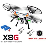 OneBird Syma X8G 2.4G 4CH 6-Axis 8MP Wired HD Camera Headless Mode RC Drone Quadcopter (X8G+Batería*2+Motor*4)
