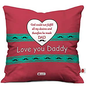 Indigifts Love You Daddy Decorative Cushion Cover 12x12 Inches With Filler Pink