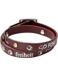 Pilgrim Damen-Armband Leder Metall versilbert 41cm Kristall weiß 901336302