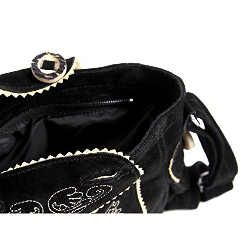 Almbock Trachten-Tasche Betti in schwarz - für Damen, modern, für Hochzeit oder Oktoberfest kaufen, in Lederhosen-Design aus Rinds-Leder - 3