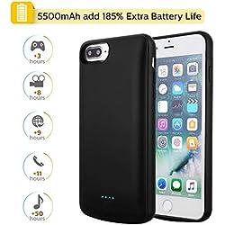 Coque Batterie pour iPhone 6 Plus/7 Plus/8 Plus/6s Plus, Mbuynow 5,5 Pouces 5500mAh Chargeur Portable Batterie Externe Puissante Power Bank Coque Rechargeable pour iPhone 6 Plus/ 8 Plus/7 Plus