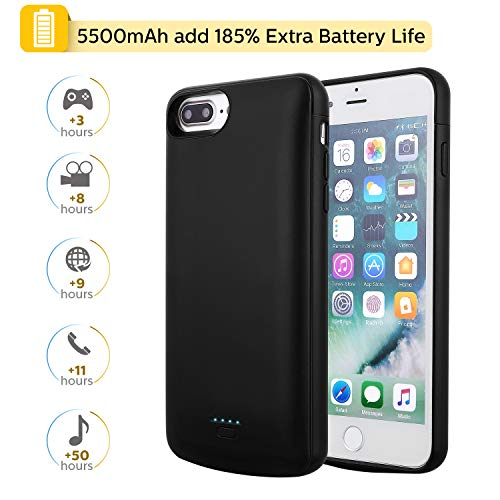 Mbuynow Cover Batteria per iPhone 6/7/8 Plus, 5500mAh Custodia Ricaricabile Cover Caricabatterie Batteria Esterna Battery Case per iPhone 6/7/8 Plus [5.5'']