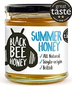 Black Bee Honey Summer Honey - 100% Pure and Natural, Single Origin British/UK Honey (250g Glass jar)