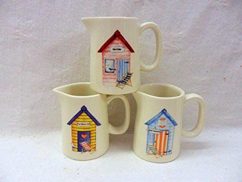 Beach Hut Design Mini Cream Jug By Heron Cross Pottery