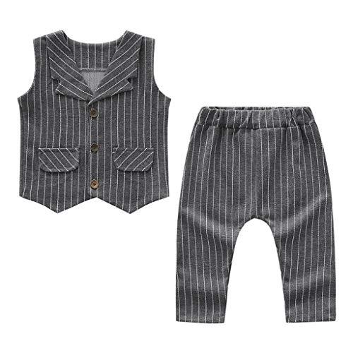 (Haruuy 1 Stück Babyjungs Gentleman Kleinkind Kleidung , Baby Sleeveless gestreifte Weste Top + Pants Zweiteiler Kleiner Anzug Gentleman ,von 6M-24M-Jahren,Geschenk Junge-2 Jahre.)