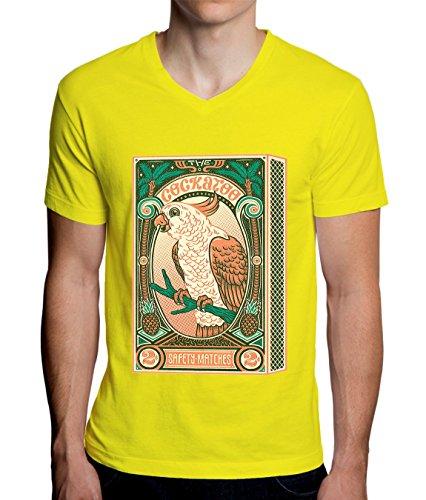 The Cockatoo Matches Box Design Men's V-Neck T-Shirt XX-Large (Tee T-shirt Cockatoo Parrot)