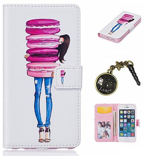 PU Silikon Schutzhülle Handyhülle Painted pc case cover hülle Handy-Fall-Haut Shell Abdeckungen für Smartphone Apple iPhone 5 5S SE +Staubstecker (2AB) 9