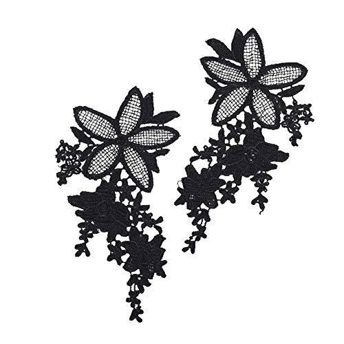 YUnnuopromi 2 Stück Spitzen-Stickerei Applikation Ausschnitt DIY Nähen Kragen Aufnäher für Brautkleider Kleid Dekoration