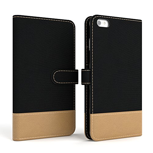 Apple iPhone 6S / 6 Tasche, EAZY CASE Book-Style Case Vintage, Premium Handyhülle mit Kartenfach, Schutzhülle Geldbeutel mit Standfunktion, Wallet Case in Schwarz Schwarz - Denim
