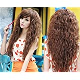 "Super Wigy Hot Sale 25"" Long Fashion Girls Curly Highlights Hair Party Wig 3 Colors +Wig Cap (Black)"