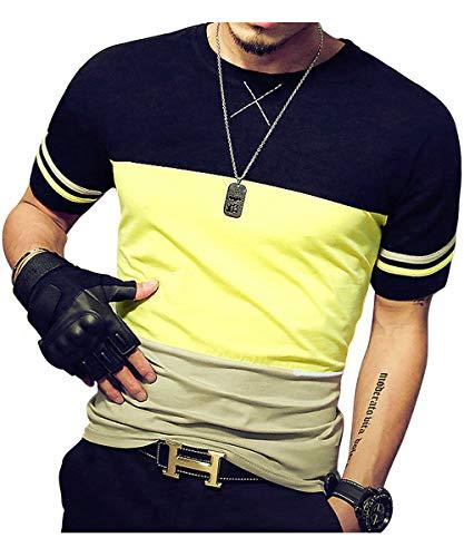 LOGEEYAR Herren Baumwolle ausgestattet Kurzarm Kontrast-Farben-Nähte-T-Shirt Medium 533-Gelb Schwarz -
