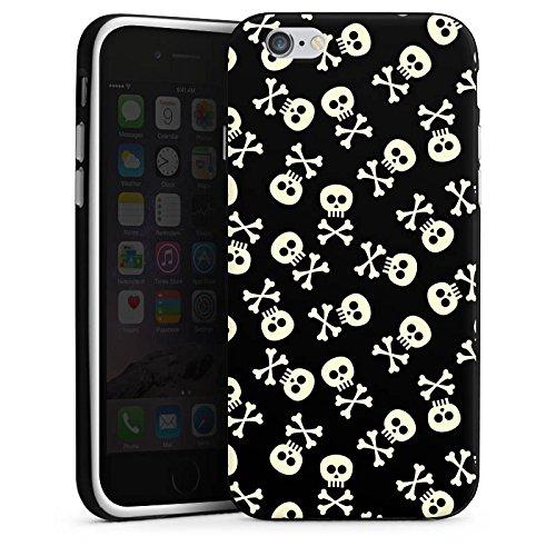 Apple iPhone X Silikon Hülle Case Schutzhülle Totenkopf Skull Schwarz-Weiß Silikon Case schwarz / weiß