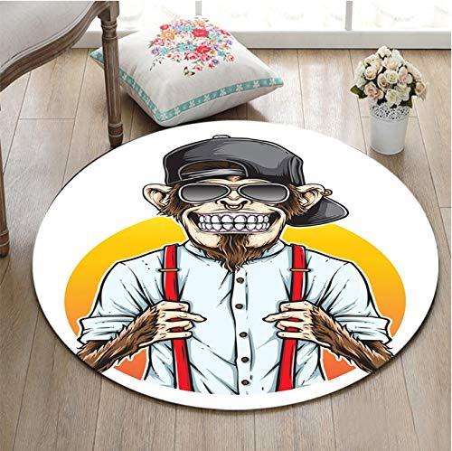 Runder Teppich Mode AFFE Mit Dunkler Brille Wohnzimmer Kinderzimmer Boden Bodenfläche Zimmer R-Slip Home Do Or Mat 120 cm
