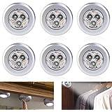 PIXNOR 6 x LED Unterbauleuchte mit 3 LEDs Batteriebetrieben Led Touch Lampe FÜR Küchenlampen Schrankleuchten (weißes Licht)