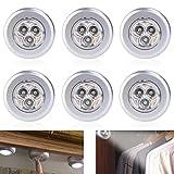 WINOMO LED Batteriebetrieben Stick Datenübertragung Licht batteriebetrieben 6pcs Click Push 3LED Lampe Licht (weißes Licht)