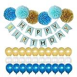 Ruiting Banner Happy Birthday Party Deko Girlande Geburtstag Baby Junge Geburtstag Party deko Happy Birthday Flagge Ballon Papierblume 1 Set.