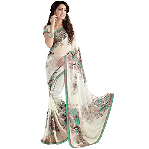 Indira Designer Women's Green Color Georgette Printed Saree With Blouse