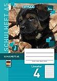 STYLEX 29704 Schulheft mit tollen Tiermotiven, Verschiedene Lineaturen, DIN A5, 16 Blatt