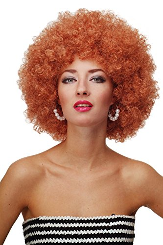 Wig me up ® - parrucca afro anni 70 parrucca party funk disco foxy colore rosso rame e biondo rame pw0011-p130
