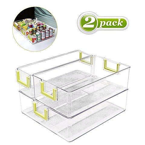 BUDGET&GOOD Kühlschrank Aufbewahrung Organizer für Küche Kühlschrank Gefrierschrank, Kunststoff 2 Pack 3 Set in verschiedener Größe