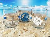 Teelichthalter Set 3-teilig | schöne Dekoration im maritimen Look | Teelichtgläser inkl. Teelichtern | Kerzenständer | Kerzenhalter | Glas | Meer | Deko | Handarbeit - 6