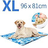 Shinyee 2019 Dog Cooling Mat Cool Non-toxic Gel Pad for Your People Cat and Pets, Puppy Self Cooling Cushions Bed Sofa in Summer, Ideal for Home & Travel & Cars Extra Large (XL-96x81cm)