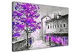 Schwarz und Weiß Town mit farbigen Bäume auf gerahmter Leinwand Kunst Bild Home Decor Druck, canvas, violett, 06- A0 - 40