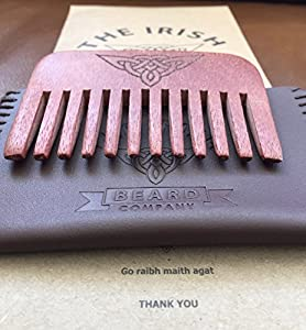 Wooden Beard Comb - Natural Wood Pocket Beard Comb with Real Hand Stitched Leather Pouch - Ideal for Male Beard Grooming