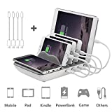 Multiport USB Universal  Ladestation,Dockingstation,AYEPOW Wireless Charger 2.4A Induktions Ladegerät mit 4 USB Ports & 4 kabel Handy und Tablet Ladestation Dockingstation für iPhone 6 /6s / 7 / 7s / 8/ X / iPad / Samsung / Huawei/ Smartphones (Grau)
