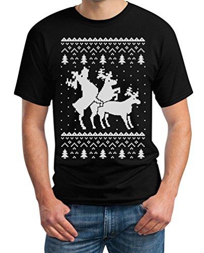Rehntier Dreier - Lustiger Weihnachtspullover T-Shirt Schwarz