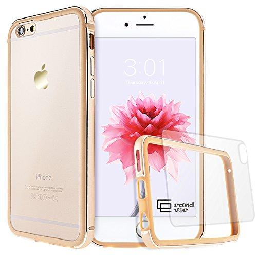 GrandEver iPhone 6/6S Hülle Aluminium Rahmen mit Silikon Bumper + Hart PC Zurück Kombination Transparent Schutzhülle Kratzfeste Handy Hülle für Apple iPhone 6 6S(4.7 Zoll) Handytasche -Gold (Iphone 6 Rahmen)
