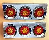 2x CHROM EDELSTAHL Hamburger LED-Rücklicht Dreifach Leuchten Lampen für Scania Man DAF Mercedes Truck Trailer Chassis LKW American Style