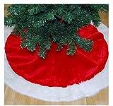 PICCOLI MONELLI Tappetto Albero Natale in soffice Pelliccia Rosso e Bianco cm 55 x 100