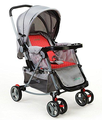 LuvLap Baby Stroller Pram 2 in 1 with Rocker Grey