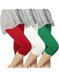 Slassy Women's Cotton Capri Leggings Pack Of 3