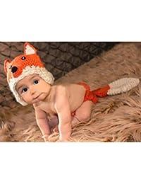 Bei Wang bebé recién nacido fotografía apoya Fox Outfit Muchacha y muchacho Handmade punto Hat