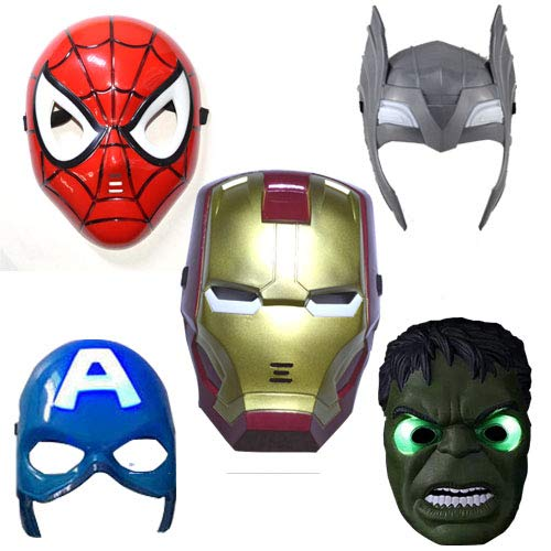 Batman Party Kostüm Stadt - WSJDE Superhelden-Maske für Kinder und Erwachsene, mit LED-Lampen, Avengers, Marvel Captain America, Spiderman, Hulk, Iron Man, Batman, 5 Stück