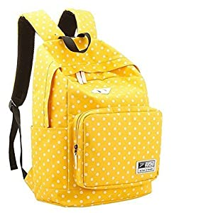 HOT Sale New Arrival Polka Dot Canvas Rucksack Casual Daypack Backpack Laptop Backpack College Bookbag Book Tote Bag for Teens Students School Bags for Girl and Boy Love (Yellow)