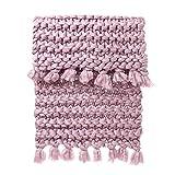 Gestrickte handgestrickte Decke,Wawer 80x100cm Handklobig Gestrickte Decke Warnen dick sperrig stricken werfen Crochet Quaste handgestrickte Decke (Rosa)