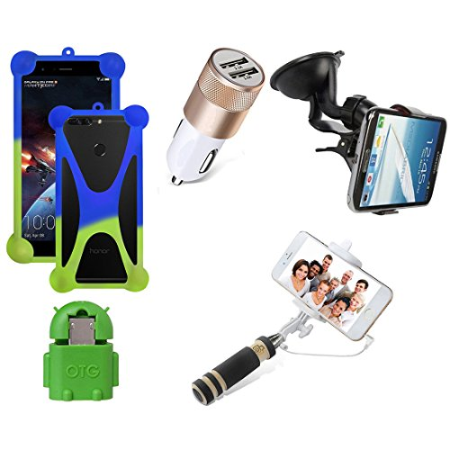 Casotec 5 in 1 Combo offer Car Mount Holder / Mobile Cover / Selfie Stick Monopod / Car Charger / OTG for Samsung Galaxy S2