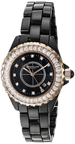 Stuhrling 530S2.114OB1 - Reloj para mujeres, correa de cerámica color negro