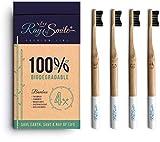 4er-Pack Holzzahnbürste aus nachhaltigem Bambus-Holz, weiche Borsten & leicht zu unterscheiden, plastikfrei verpackt, Zahnbürste mit Bambus-Holzkohle für gesunde und weiße Zähne von RAY OF SMILE