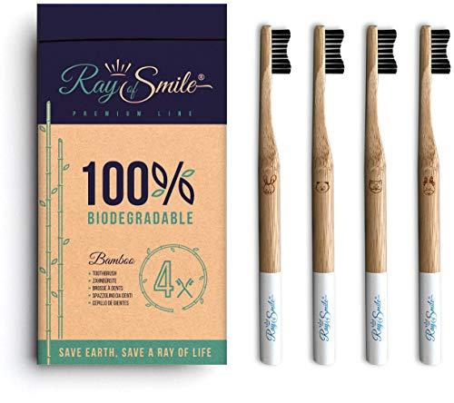 RAY OF SMILE 4 paquetes Cepillo Dental hecho de Madera de Bambú, cerdas suaves y fácil de distinguir, empacado sin plástico, cepillo de dientes con carbón de bambú para dientes sanos y blancos