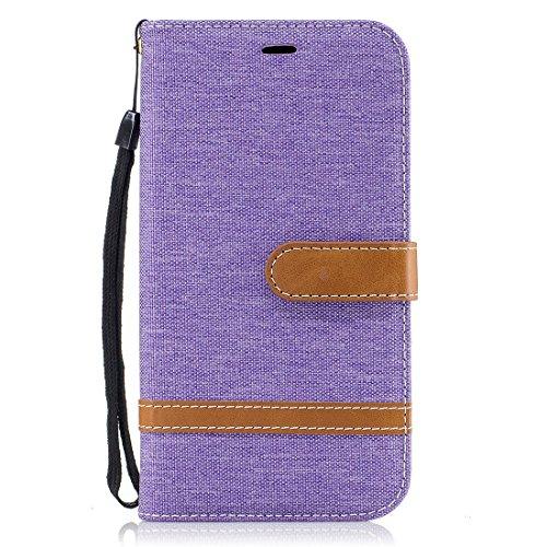 Hozor Motorola Moto G4/G4 Plus Hülle, Bookstyle Leder Handyhülle mit Standfunktion Aufklappbar Schutzhülle Denim Flip Case Wallet Cover mit Kartenfächern - Lila