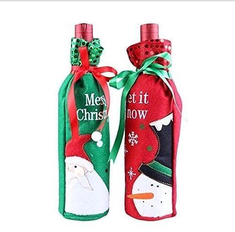 UChic 4Pcs Weihnachtsmann-Schneemann-Entwurfs-Wein-Flaschen-Abdeckungs-Rotwein-Geschenk-Beutel Hübsche (Weihnachtsfeier Tischdekoration)