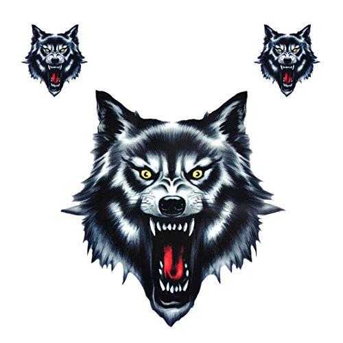 Etiqueta engomada Divertida del Vinilo del Vinilo de la Cabeza del Lobo...