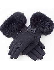 El engrosamiento de las señoras del invierno más el terciopelo gamuza cinco dedos de la pantalla táctil de ciclismo guantes calientes ( Color : Negro )